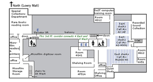 Fourth floor of Ellis Library floorplan
