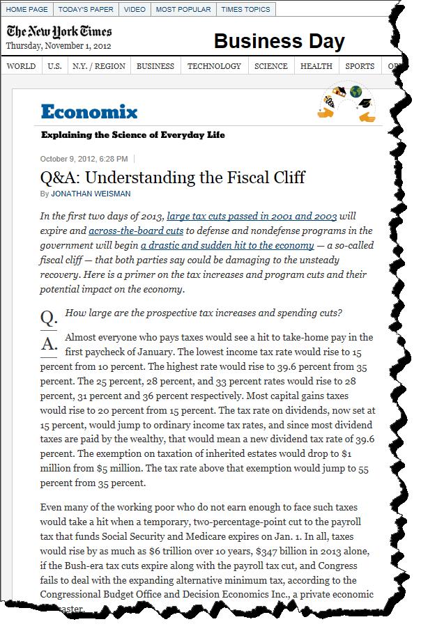 Q&A Fiscal Cliff