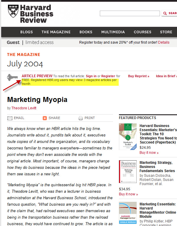 HBR Marketing Myopia