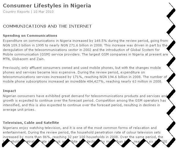 Consumer Lifestyles Nigeria