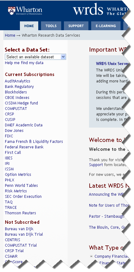 WRDS Database Subscriptions