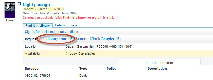 screenshot of Holmes record showing Interlibrary Loan Request link