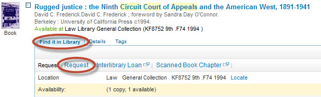 screenshot of Holmes record showing a Law Library item