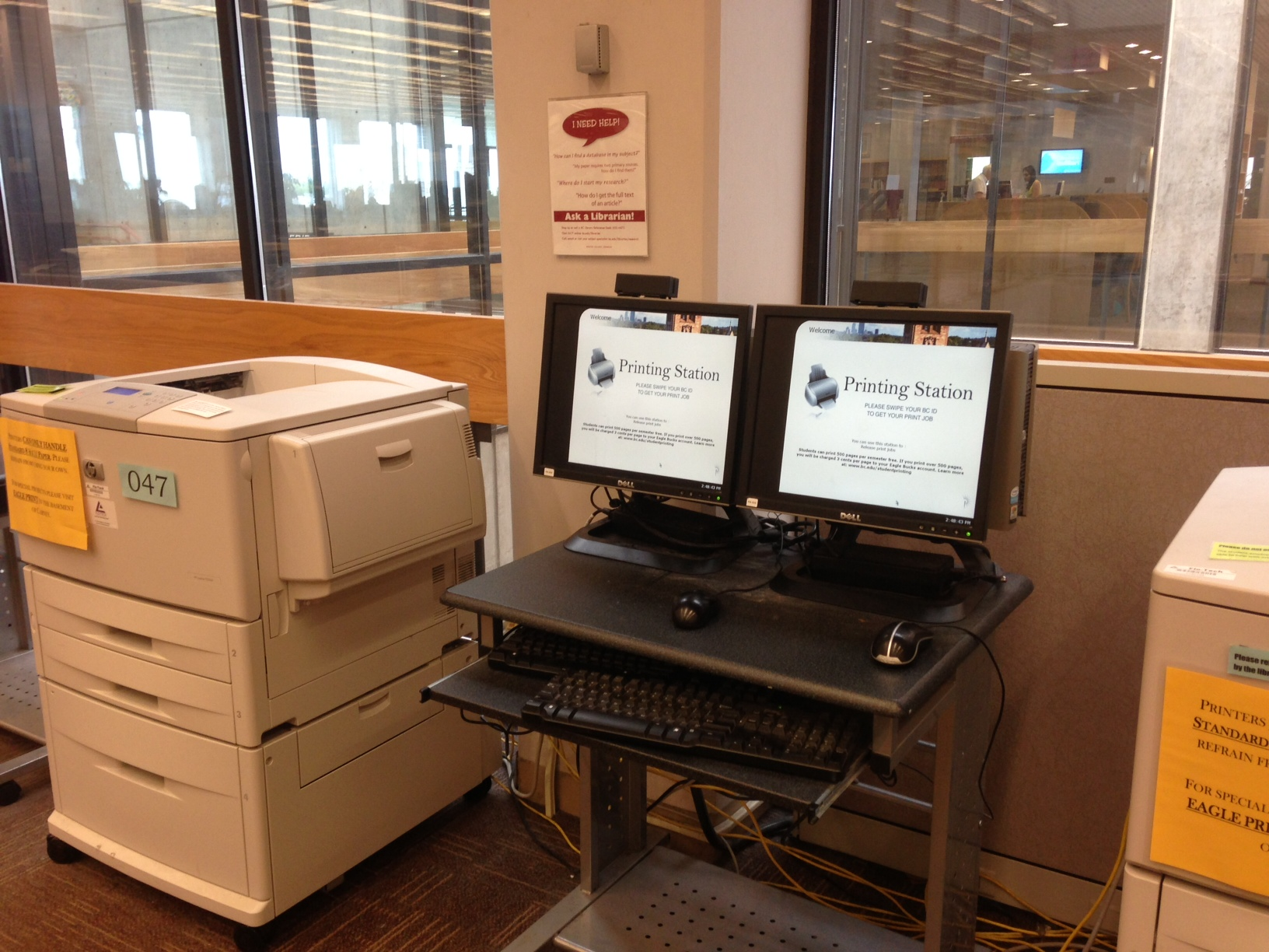 photo of print station in O'Neill Library