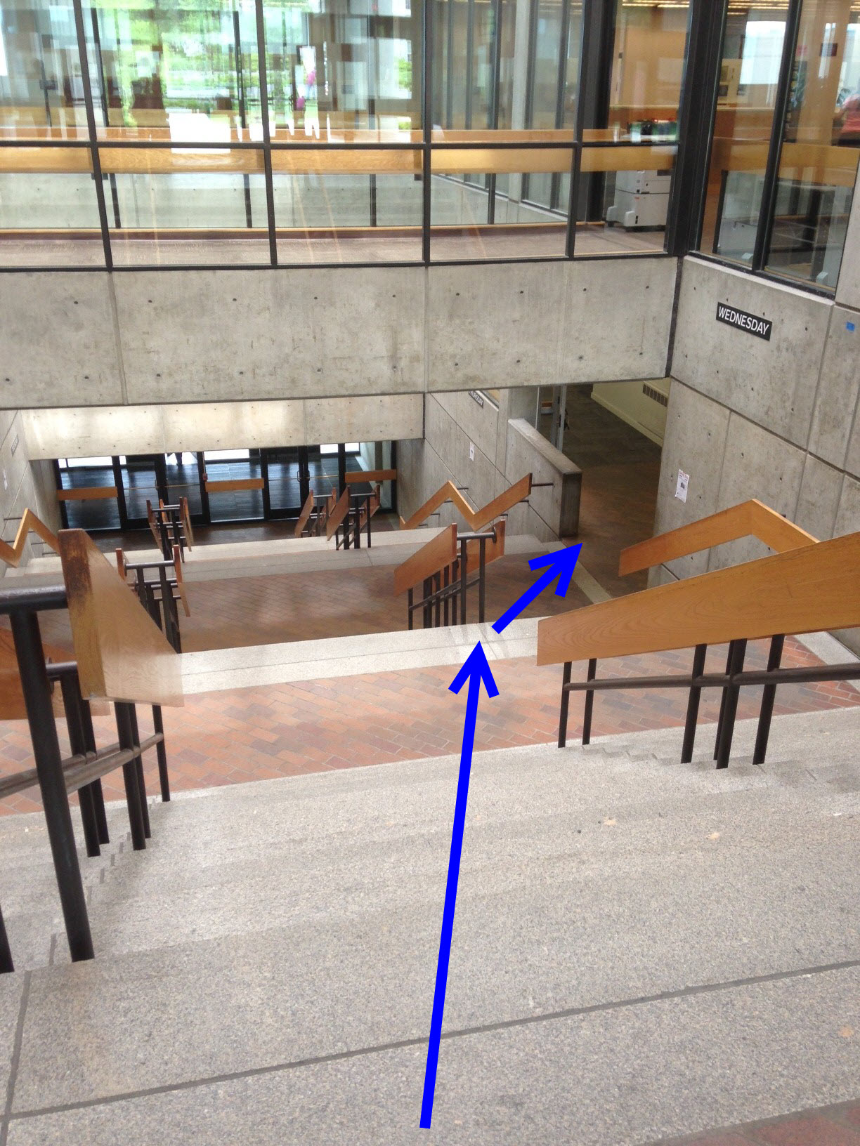 Photo of the atrium stairs of O'Neill Library showing path to O'Neill classrooms 245-257
