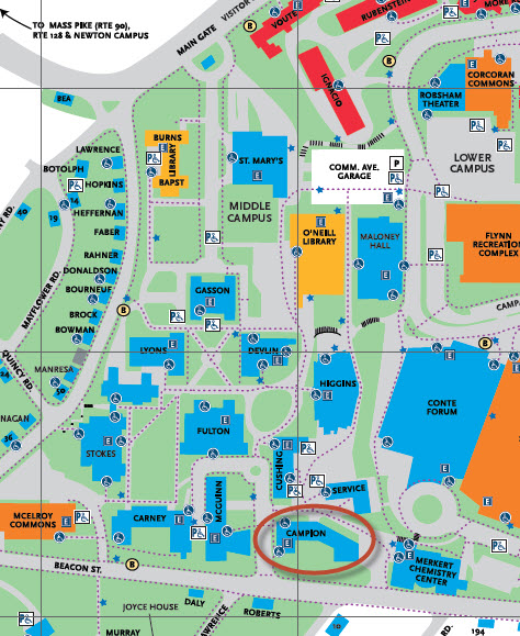 BC campus map showing location of Campion Hall