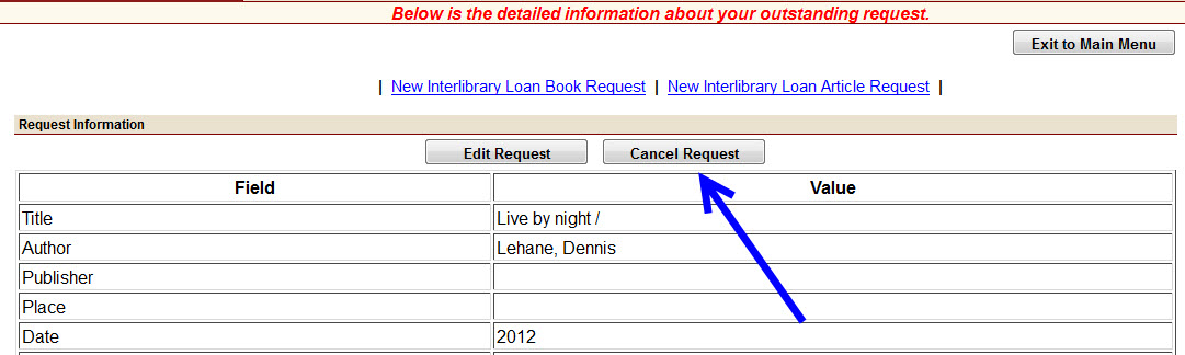 screenshot of ILL Request detail page