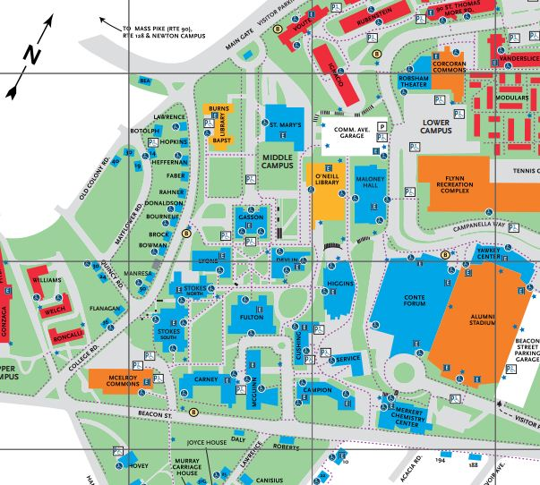 Map of BC campus showing location of Devlin Hall