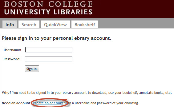 Screenshot showing how to create an account in Ebrary