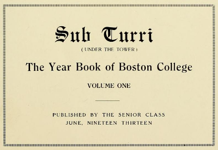 Text from cover of Sub Turri, 1913