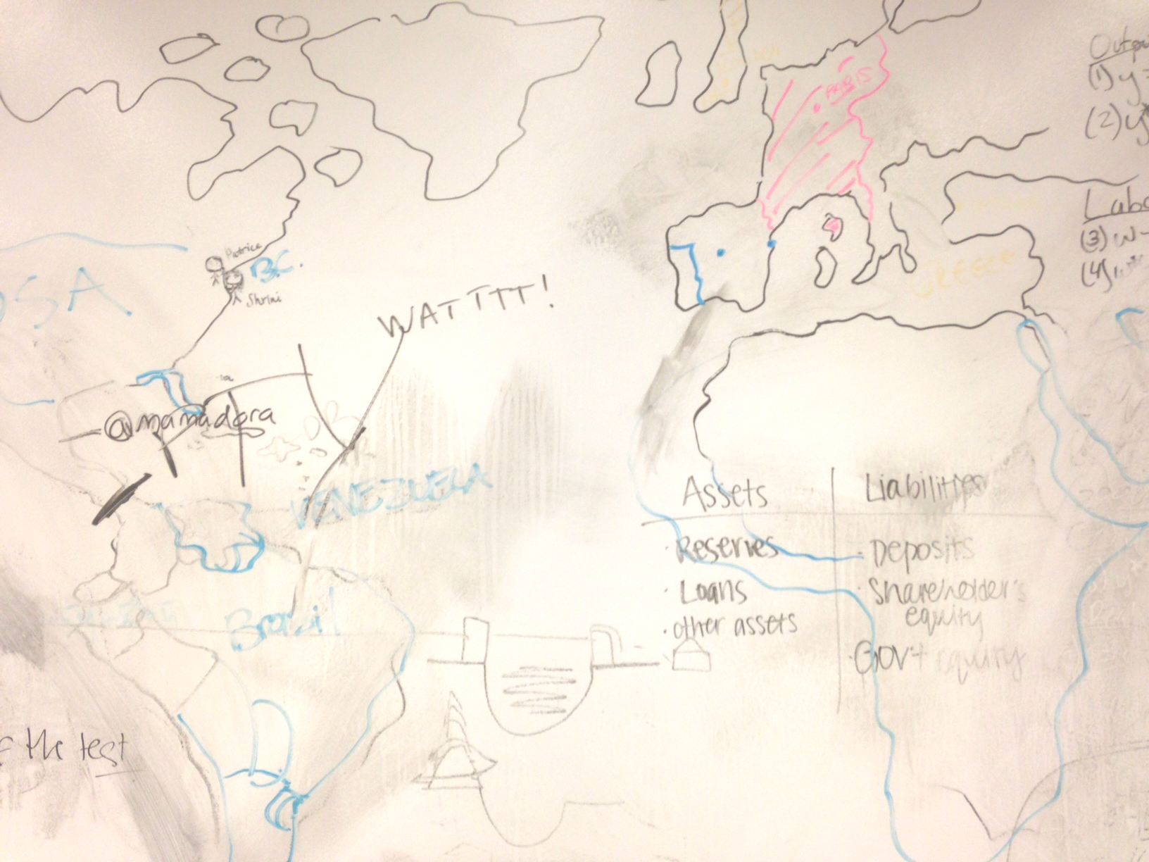 Photo of student-drawn maps and notes on dry-erase wall in study area