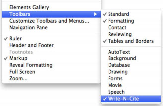 "A screenshot of the section of the ""View"" drop-down menu that contains the ""Toolbars"" option and the side menu that appears when you hover over ""Toolbars.  The checked ""Write-n-Cite"" option is shown."