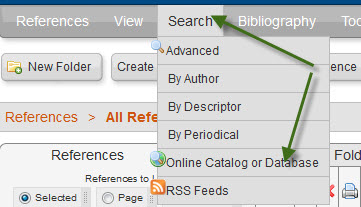 "A screenshot shows use of the RefWorks ""Search"" menu to select ""Online Catalog or Database""."