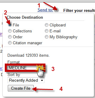 "A screenshot of the ""Send to"" menu shows selection of the ""File"" destination option, the ""MEDLINE"" format option and points out the position of the ""Create File"" button."