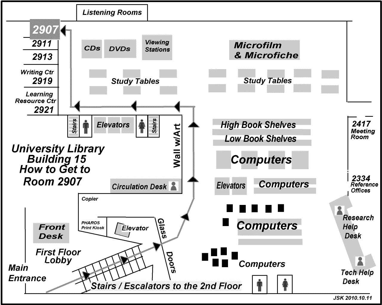 Map showing the way to Room 2907