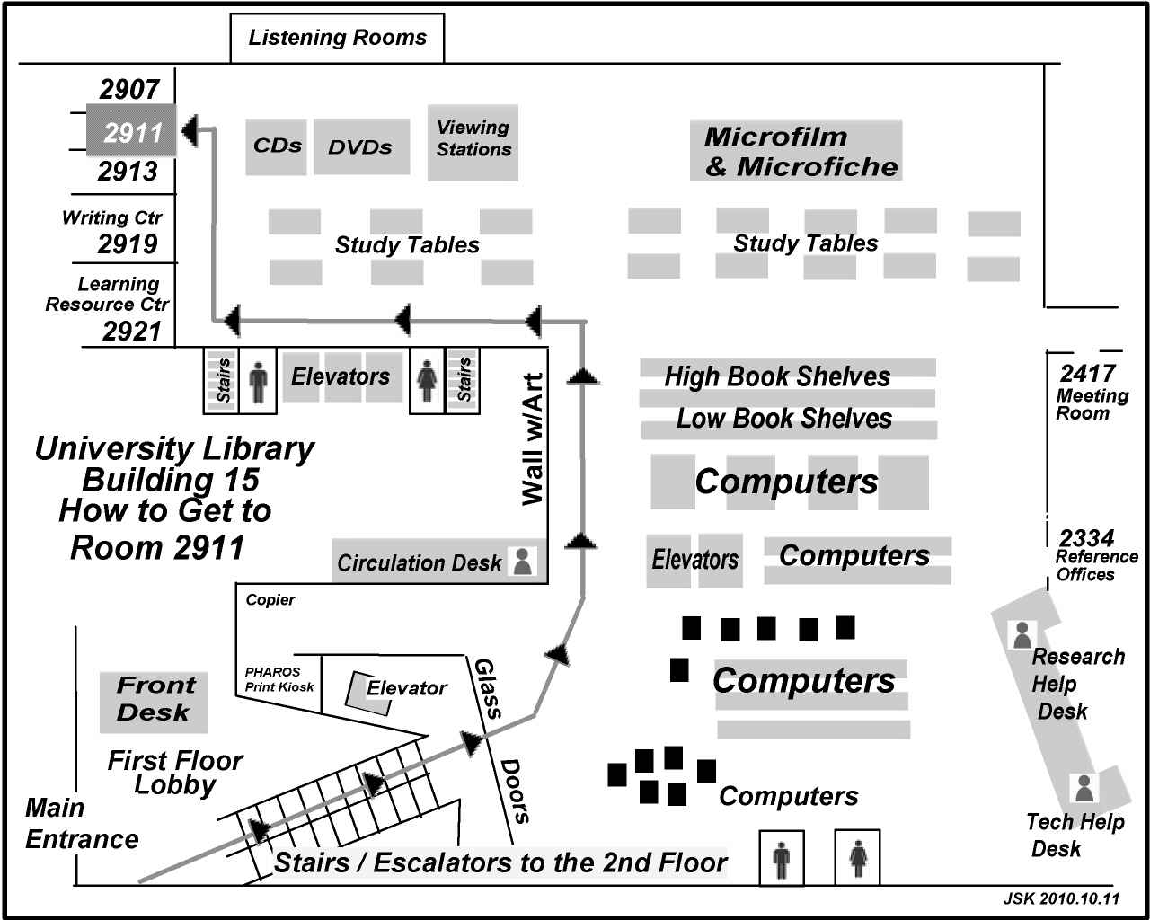 Map showing the way to Room 2911