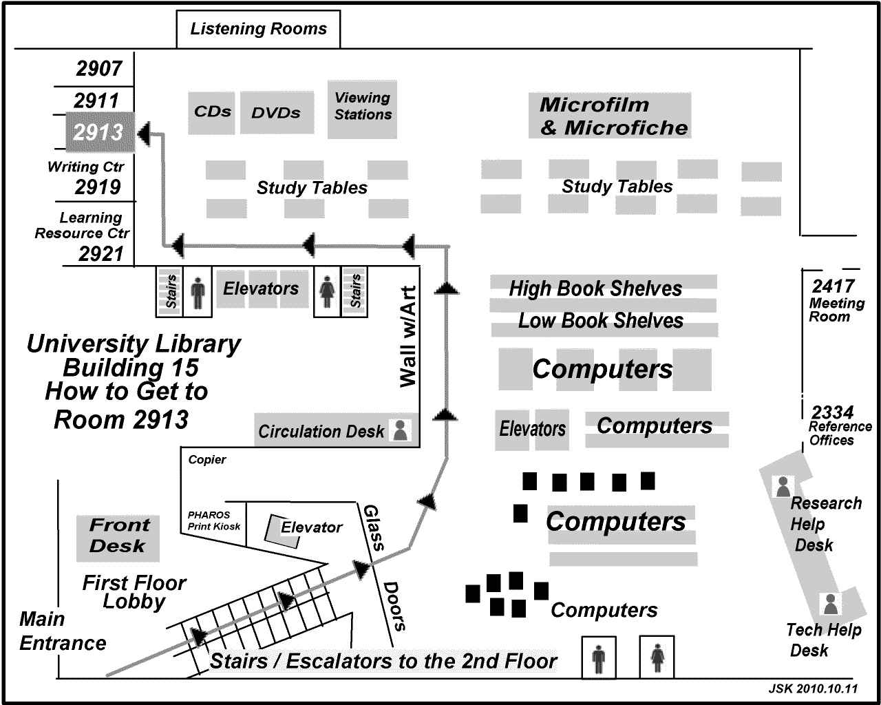 Map showing the way to Room 2913