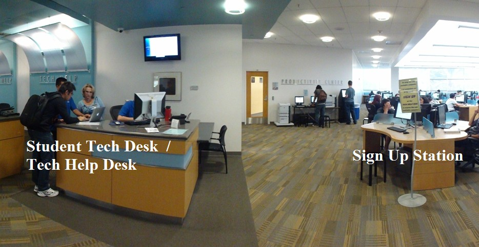 photo showing the Tech Help desk and the signup station to the right