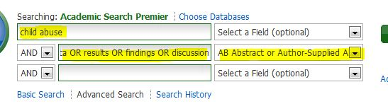 screenshot from Academic Search Premier showing settings for a search for empirical articles