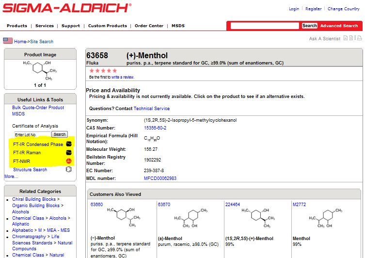 screen shot from the sigma aldrich website