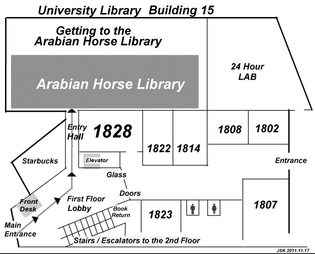 Map showing the location of the Arabian Horse Library