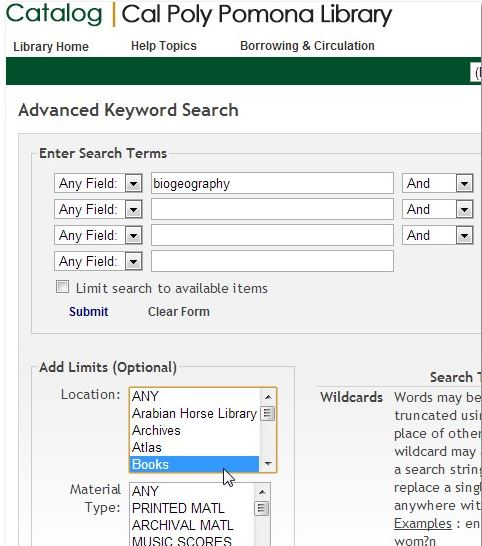 screenshot of a catalog advanced keyword search screen with location books selected