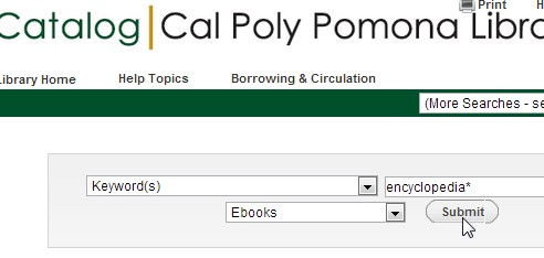 screenshot of the catalog showing a search of encyclopedia* limited to Ebooks