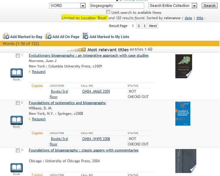 screehshot of a catalog search results screen limited to location: books
