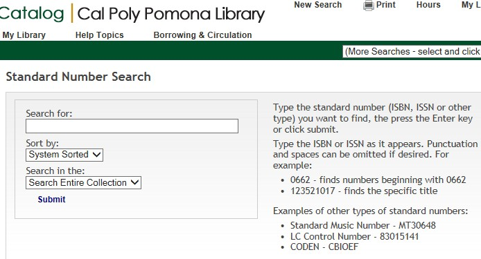 screen shot of the catalog standard number search screen