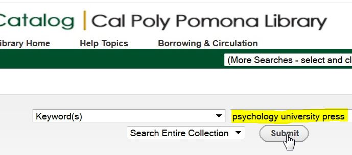 screenshot from the library catalog