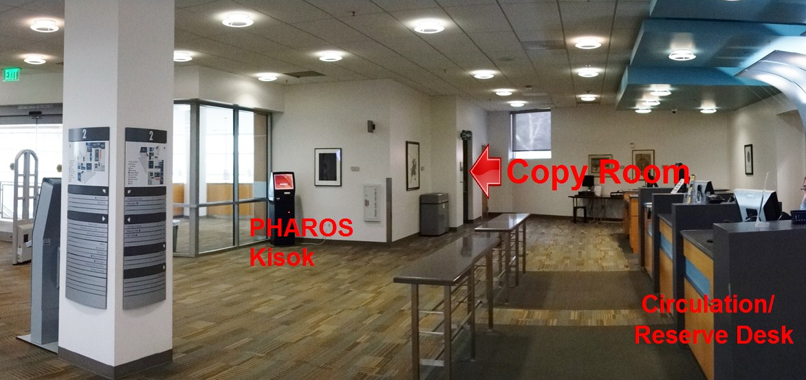 Photo showing location of the Kiosk near the Circulation/Reserve Desk