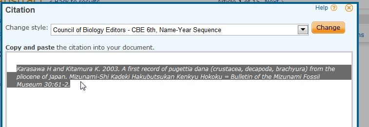 screenshot from Proquest showing copy and paste of formatted citation