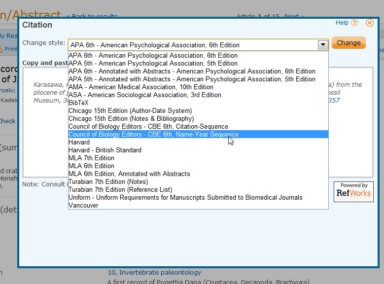 screenshot from Proquest showing how to pick citation style