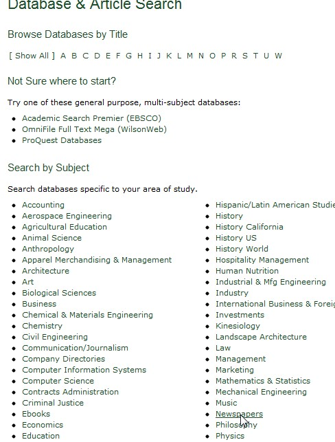 screenshot from the Databases and Articles page