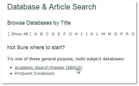 screenshot from the Databases page