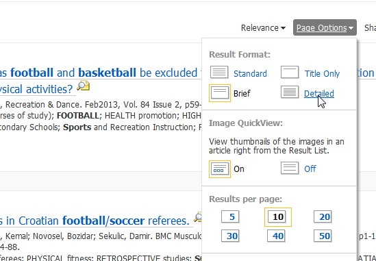 screeshot from ebscohost search selecting page options view detailed