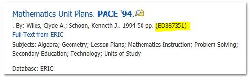 screenshot from Ebsco ERIC