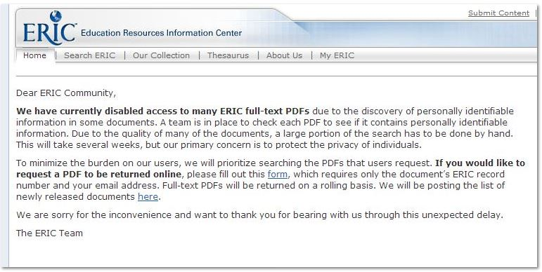 ERIC document message