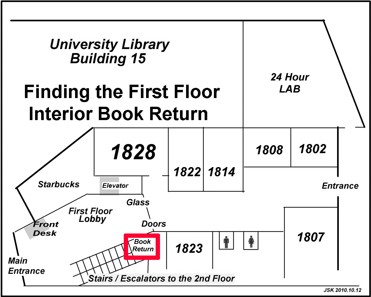 Map showing the location of the first floor interior book return
