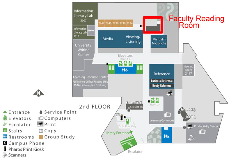 Map showing the location of the Faculty Reading Room