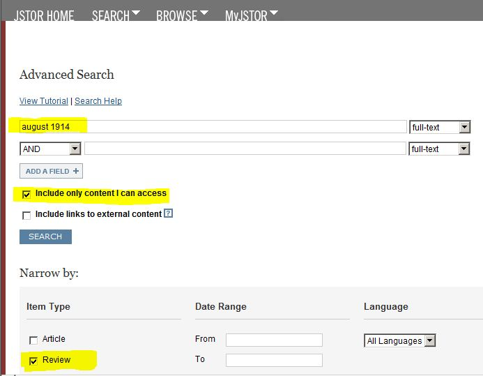 "screen shot of JSTOR advanced search form with""Review"" checked"