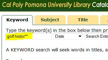 screeh shot of a keyword search in the library catalog