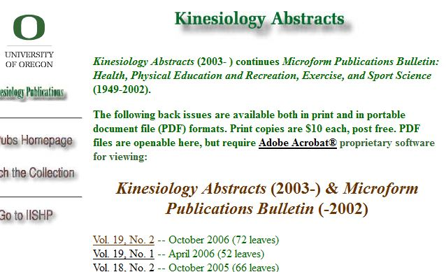 screenshot from Kinesiolgy Abstracts