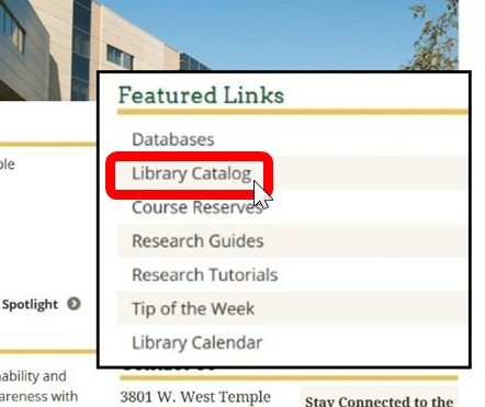 Screenshot of the Library Hompage with the Catalog link highlighted