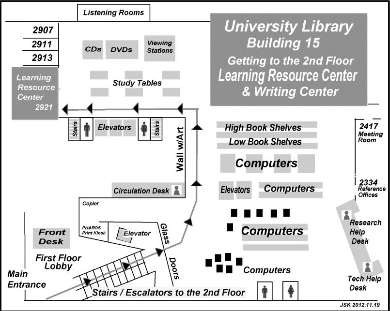 Map showing the way to the Learning Resouce Center and the Writing Center