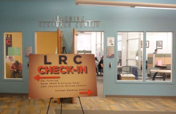 Photo of the entrance to the Learning Resource Center and the University Writing Center