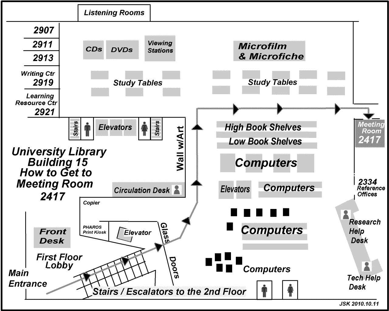 Map showing the way to Room 2417