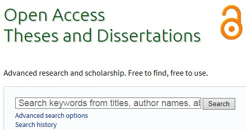 screen shot from Open Access Thesis and Dissertaions