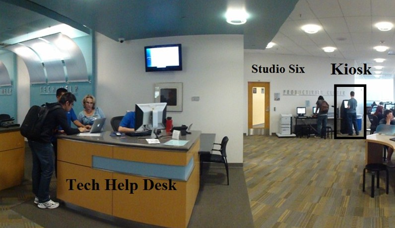 photo showing location of the Kiosk near studio six and the tech help desk