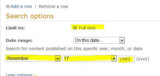 screenshot from Proquest Newsstand